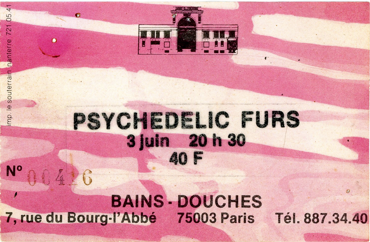 Anciens billets de concerts tickets back to the for Les bains douches paris