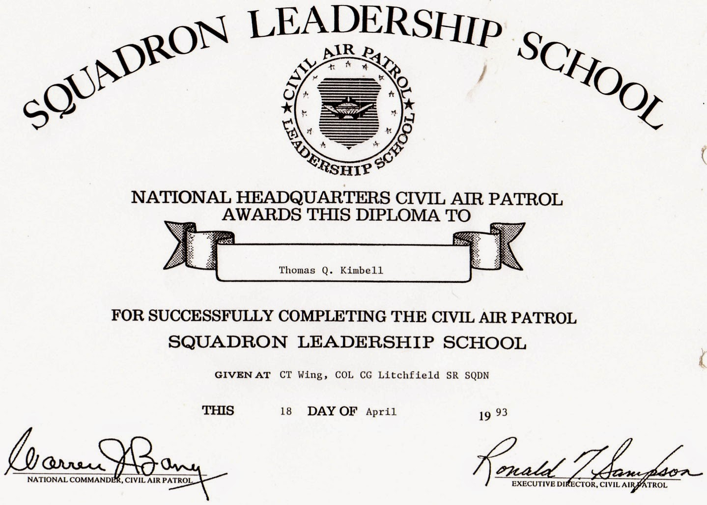 Civil Air Patrol Squadron Leadership School (SLS) Certificate in April 1993