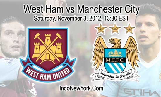 Live Streaming West Ham vs Manchester City 4 November 2012