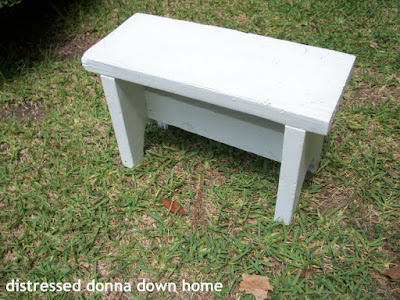 primitive white bench