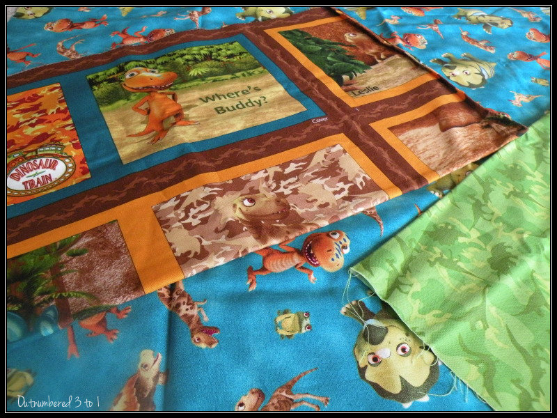 Quilting treasures dinosaur train fabric for back to for Train themed fabric
