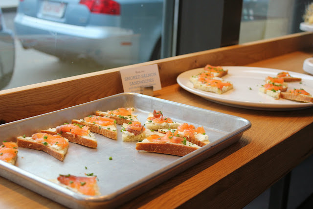 Smoked salmon sandwiches at Flour, Too cookbook launch party