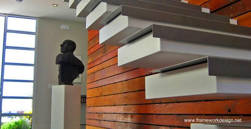 Arquitectura de casas escalera interior volada en una for Detalle escalera volada