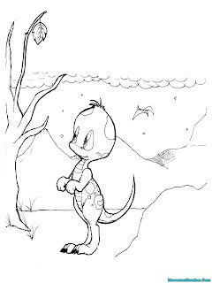 mewarnai gambar anak dinosaurus