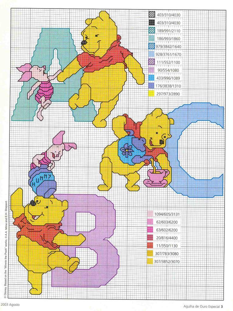 Atelier da k tia alfabeto com a turma do pooh ponto cruz for Punto croce disney winnie the pooh