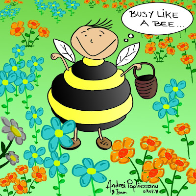 comic cartoon benzi desenate a silly fat guy dressed as a bee carrying a basket is busy collecting in a green field full of colored flowers