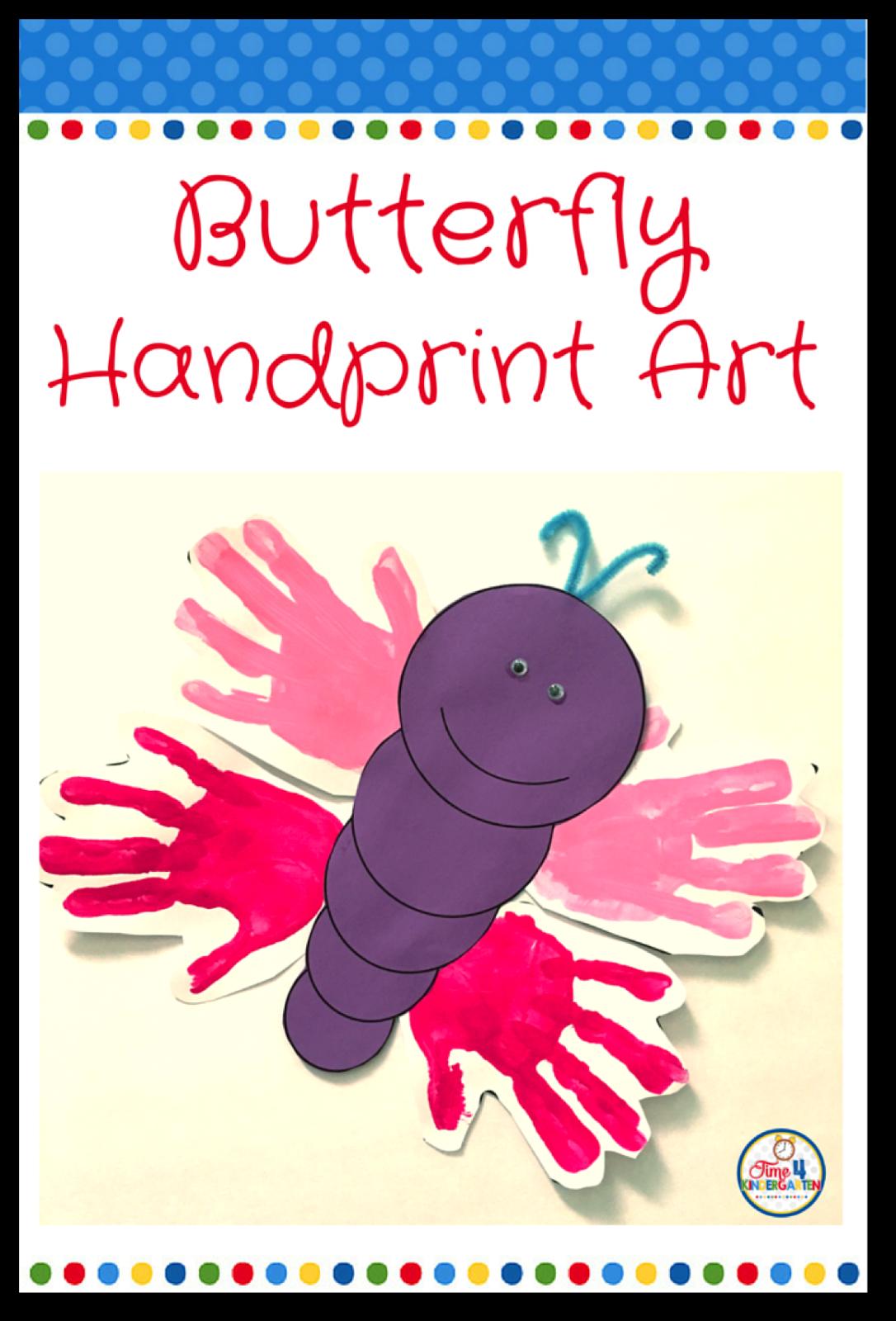 time 4 kindergarten butterfly handprint art