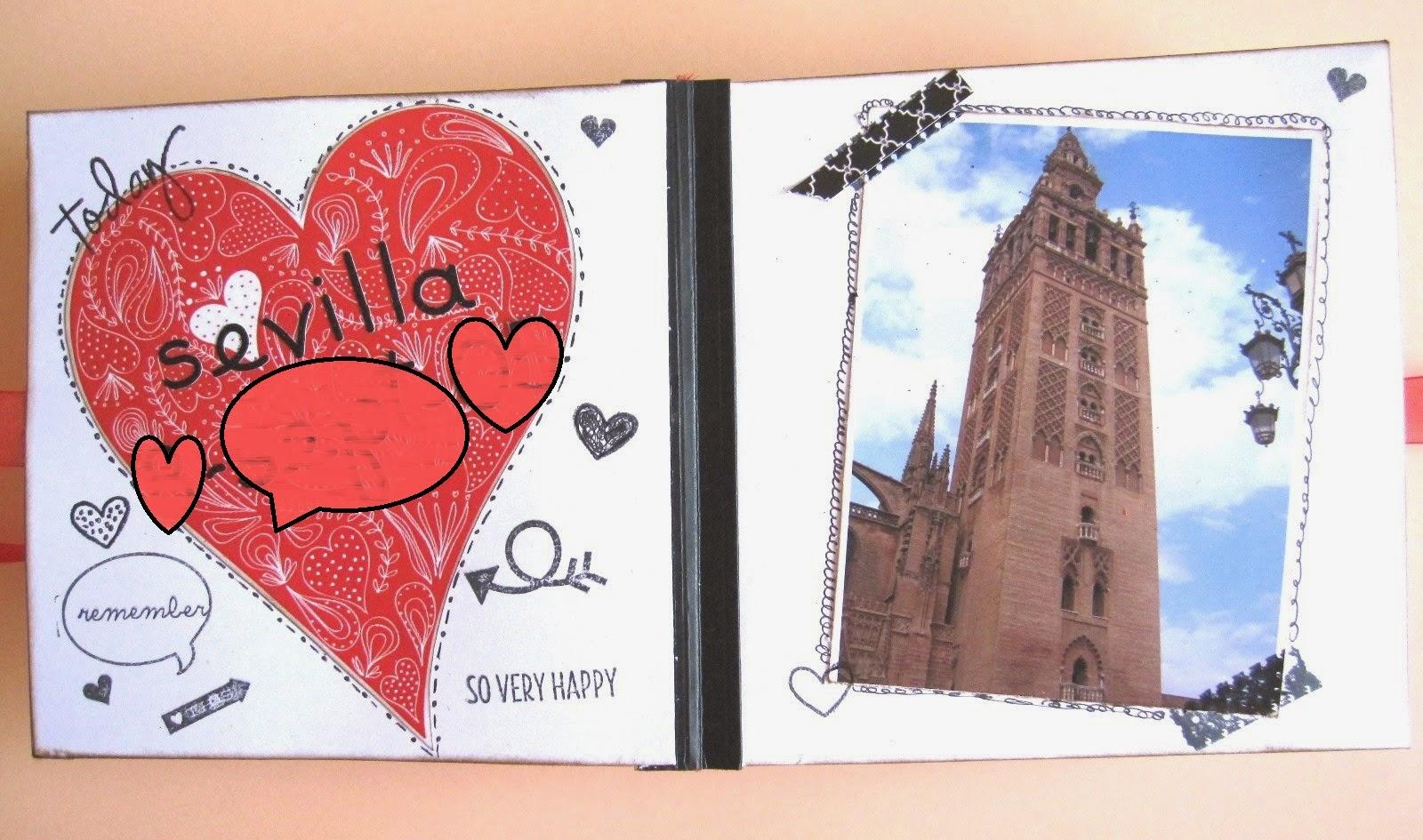 primera página del LOVE mini-álbum, a la izquierda un corazón y a la derecha una imagen de la Giralda de Sevilla
