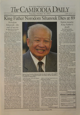 Front page of The Cambodia Daily, October 16, 2012, King Father Norodom Sihanouk Dies at 89