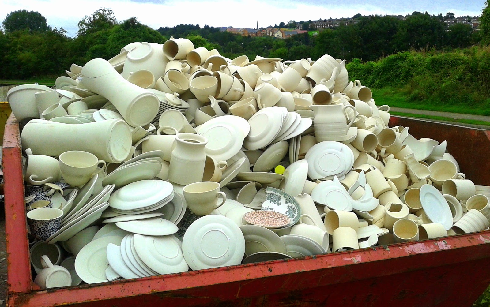 Discarded pottery shards