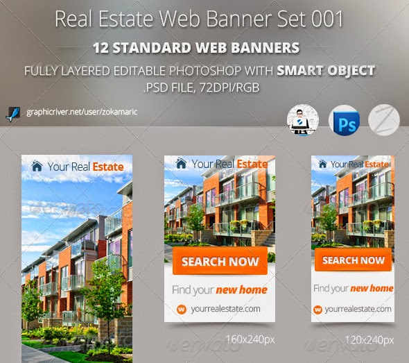 6 Real Estate Web Banner Set PSD Template - Only Best Graphic