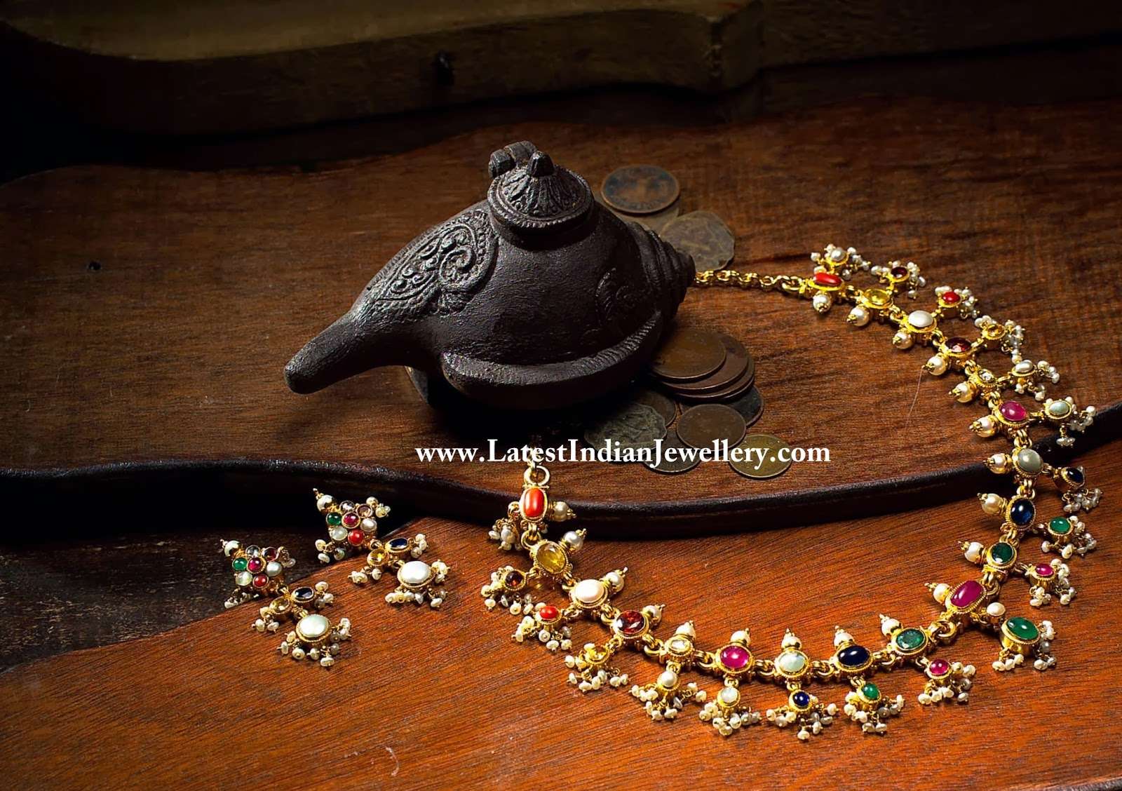 Elegant Navaratna Necklace Set
