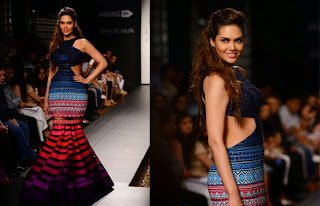 Esha Gupta in a very Colorful Captivating Gown at Lakme Fashion week Witner Festive 2014 Spicy Pics