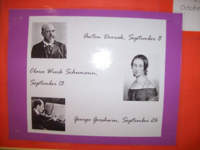 Calendar of musicians' birthdays for bulletin board