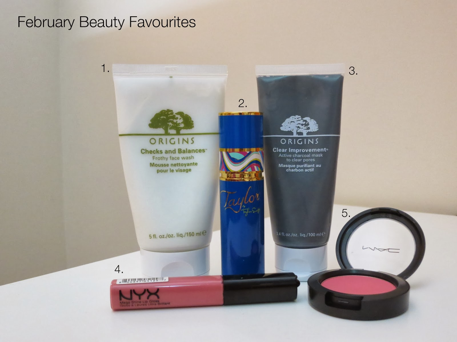 monthly beauty favourites, makeup favourites, skincare favourites, perfume favourites, february monthly favourites, february monthly favorites, origins skincare, mac pinch o' peach blush, nyx beige lipgloss