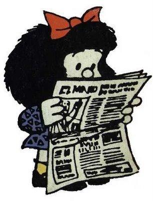 Mafalda leyendo el periódico