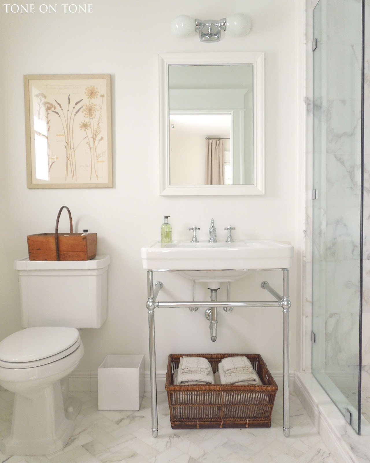 Bathroom Renovation Shows tone on tone: small bathroom renovation