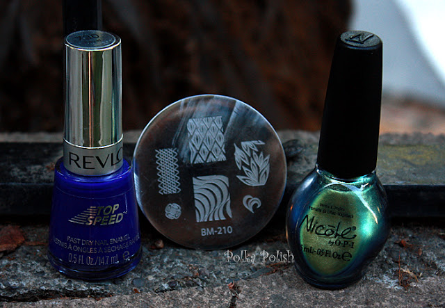 Revlon Royal, Bundle Monster Image Plate BM-210, and Nicole Mer-Maid for Each Other nail polish bottle
