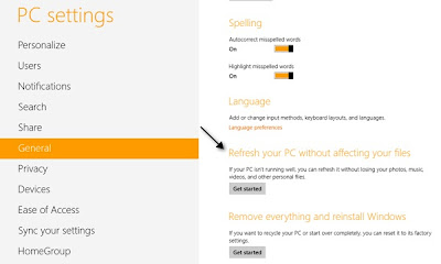 Windows 8 Metro Apps ,Refresh Your PC