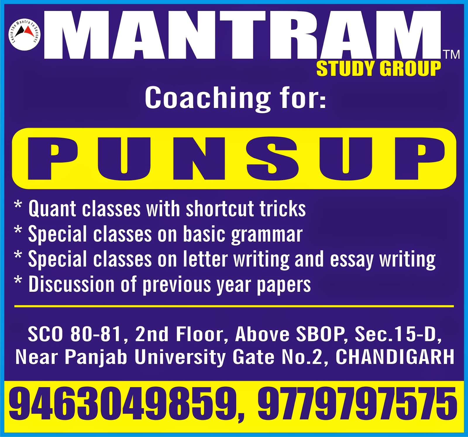 mantram study group punjab jobs  expert coaching for punsup by mantram study group in chandigarh