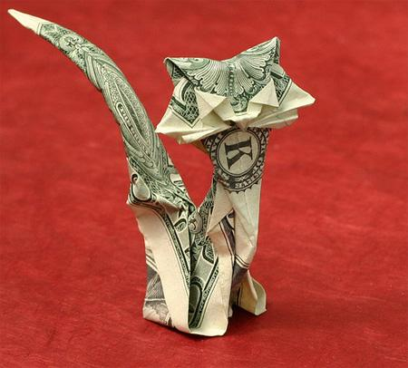 Dollar Bill Origami, Origami Art, Origami Cat