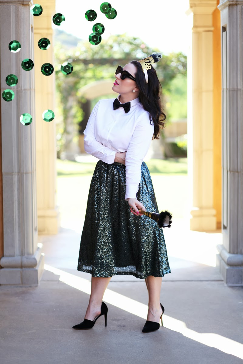 karen-walker-northern-lights-sunglasses-sequin-full-midi-skirt-tibi-dorsay-pumps-new-years-eve-party-outfit-ideas-bow-tie-2014