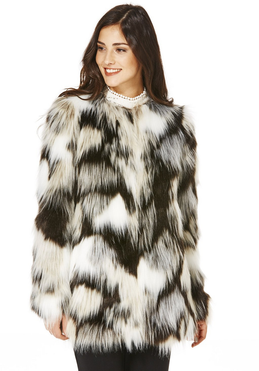 F&F Monochrome Faux Fur coat
