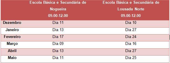 Calendarização do Gabinete de Promoção de Saúde Escolar