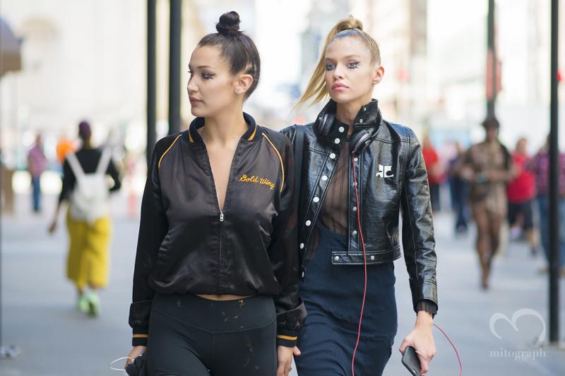 Model Bella Hadid and Stella Maxwell leaves Jeremy Scott 2016 Spring Summer show New York Fashion Week NYFW