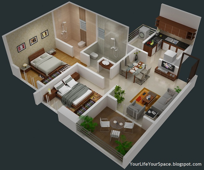 Your life your space gini bellina dhanori lohegaon road for 1 bhk flat interior decoration image