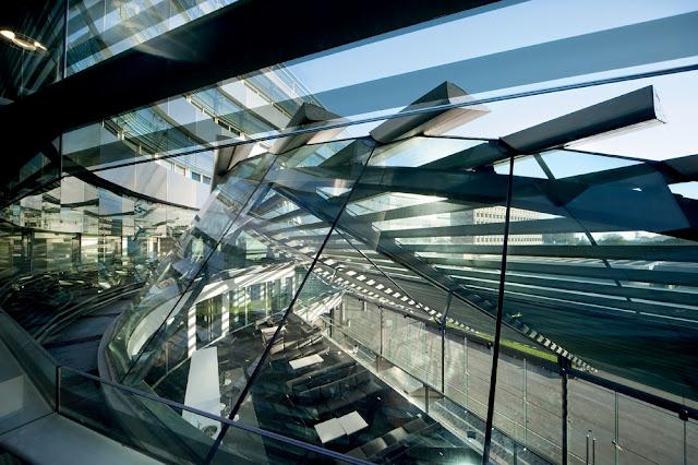 Glass facade above the lobby