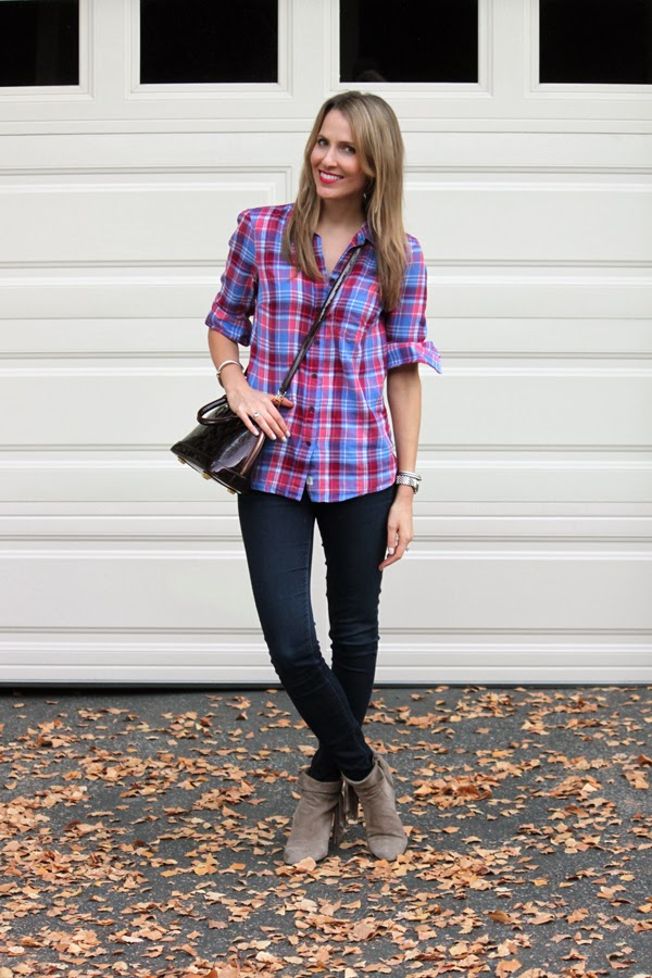 Plaid shirt, dark denim & ankle booties