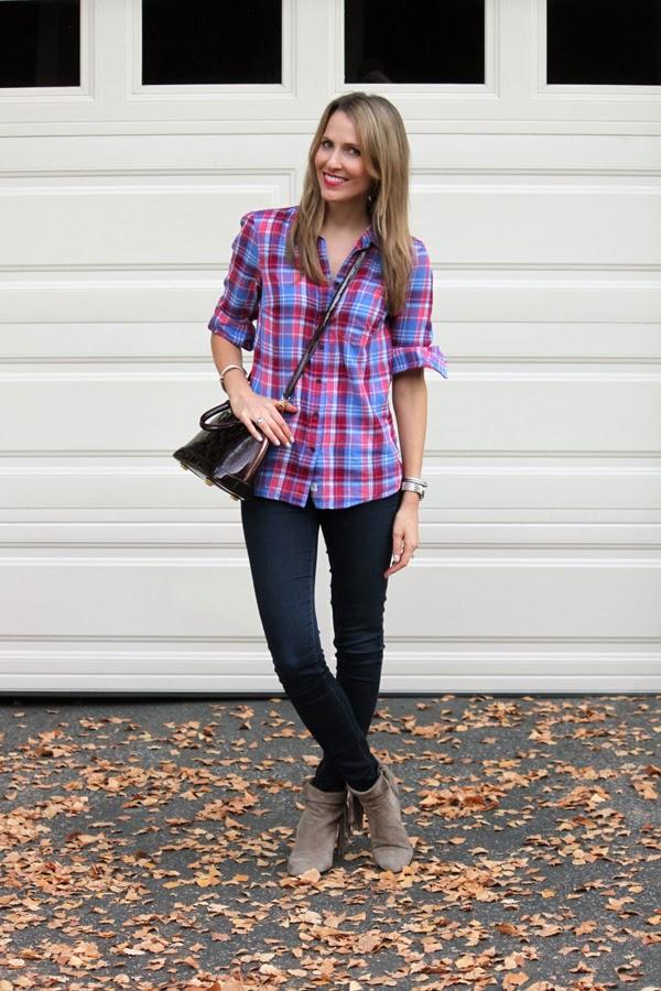 Plaid shirt, dark denim & ankle booties
