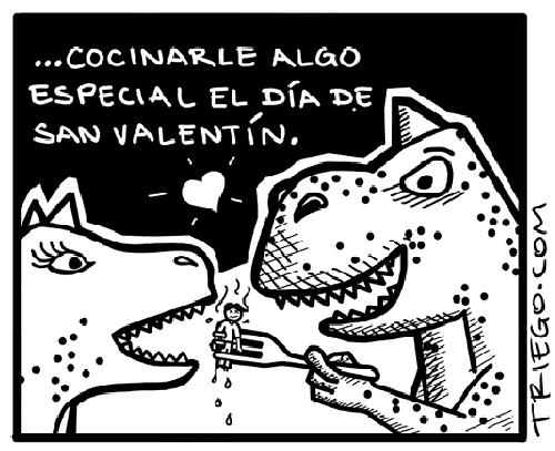 imagenes graciosas - T-Rex: amor es cocinarle algo especial el día de San Valentín.