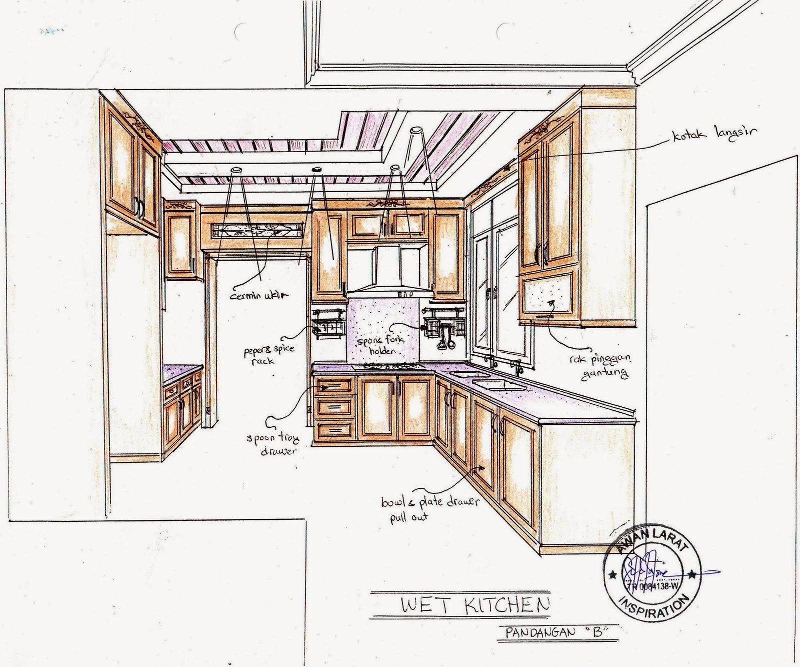 Gambar perspektif dapur