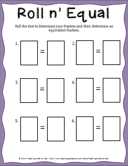 Here is a sample activity and a sample game I do with fraction dice.
