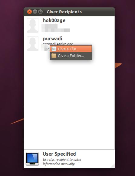 Mengirim file melalui Giver