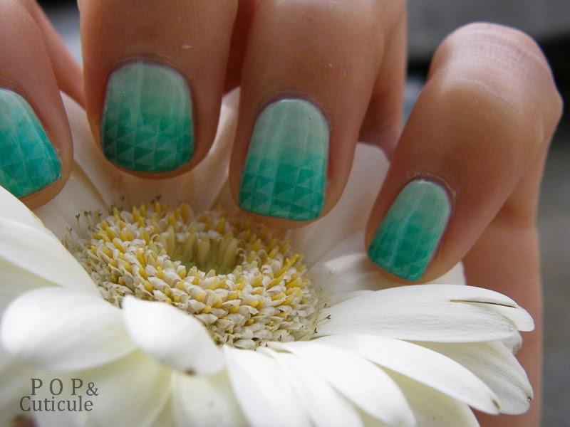 Pop & Cuticule Tuto Nail Art Dégradé Mint Stamping, Nail art vert