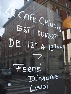 Öffnungszeiten des Cafe Chinois, Paris