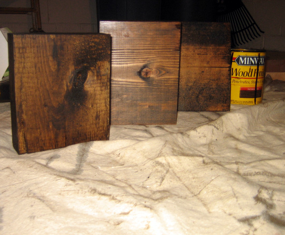 staining wood blocks