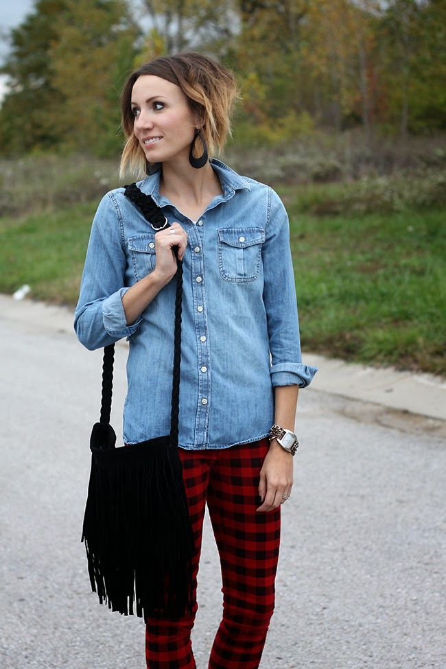 Denim shirt, buffalo plaid pants, fringe bag