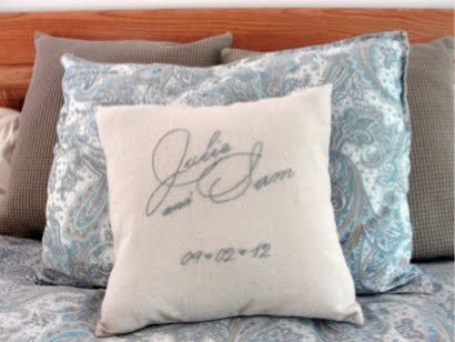 Embroidered Wedding Gift Pillow
