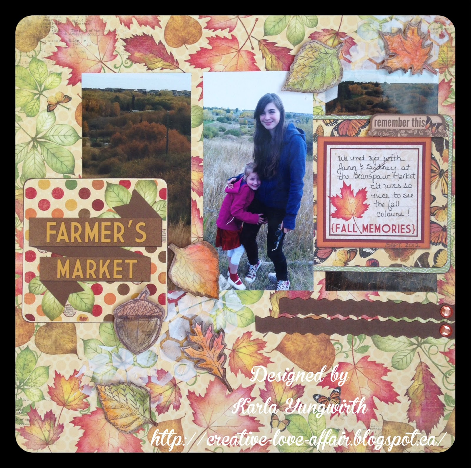 Scrapendipity way of life farmers market bobunny scrapbook layout i used some white ranger texture paste and a heidi swapp stencil on the top right and lower left areas of my page after it dried i popped my leaves up with malvernweather Image collections