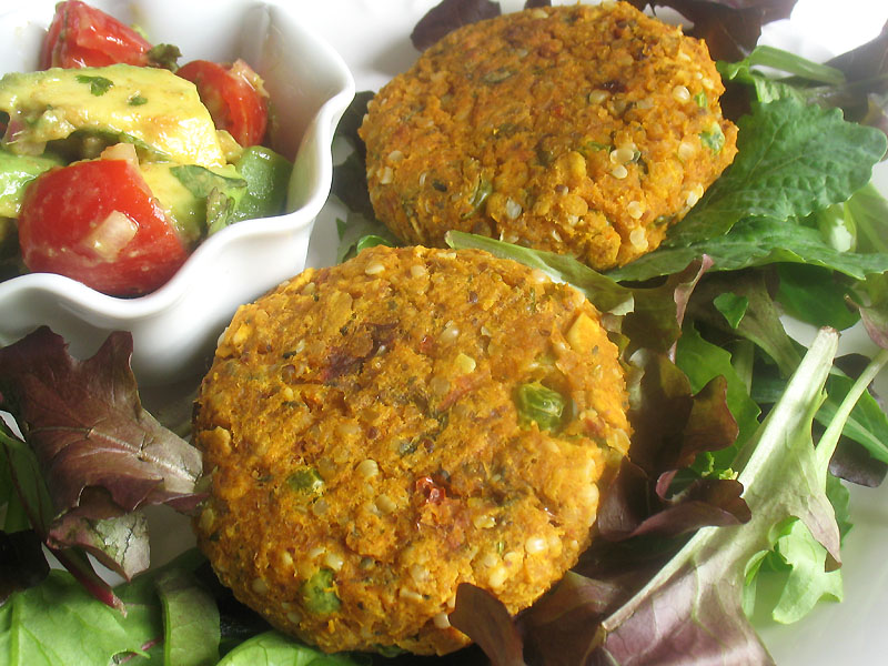 Sweet Potato and Chickpea Patties with Avocado and Tomato Salsa | Lisa ...