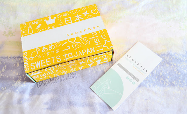 The Skoshbox DEKAbox comes in an adorable yellow-and-blue printed box with over one pound of Japanese snacks.