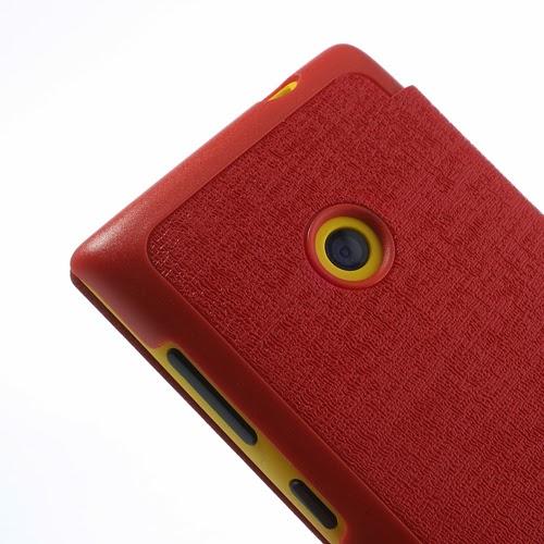 Oracle Grain Texture Slim Leather Flip Case for Nokia Lumia 520 525 - Red