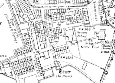 A small map snip showing the parish church of St Mary's Radcliffe and some surrounding streets.