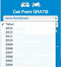 Pilihan tahun produksi kendaraan pada fitur cek premi gratis di www.rajapremi.com