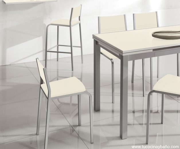 mesa cocina cristal crema vainilla