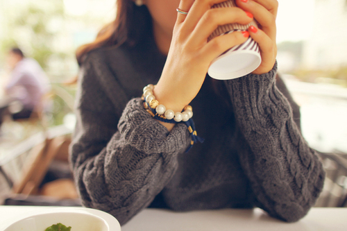 Pretty Girl Sweater DP with coffee